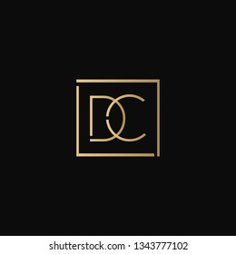 Creative elegant minimal DC artistic square shaped black and gold color initial based letter icon logo