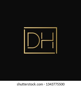 Creative elegant minimal DH artistic square shaped black and gold color initial based letter icon logo