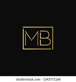 Creative elegant minimal MB artistic square shaped black and gold color initial based letter icon logo