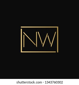 Creative elegant minimal NW artistic square shaped black and gold color initial based letter icon logo