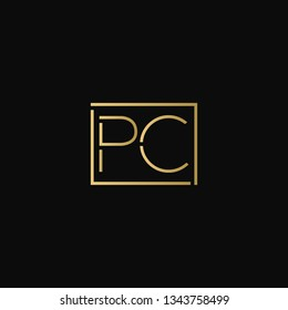 Creative elegant minimal PC artistic square shaped black and gold color initial based letter icon logo