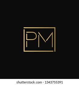 Creative elegant minimal PM artistic square shaped black and gold color initial based letter icon logo