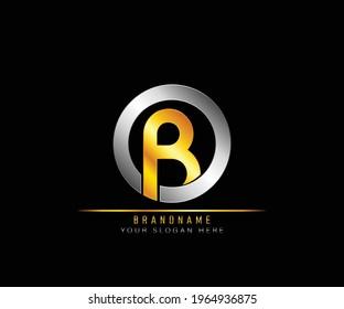 Creative elegant trendy modern monogram logo design silver and gold color OB initial based Alphabet icon logo. Initial letter OB logo template. Luxury O B logo template.