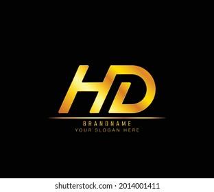 Creative elegant trendy modern monogram logo design gold color HD initial based Alphabet icon logo. Initial letter HD logo template. Luxury H D logo template.