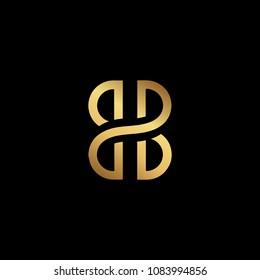 Creative elegant trendy unique artistic black and gold color BB initial based Alphabet icon logo.