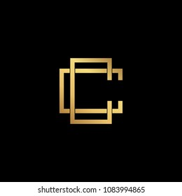 Creative elegant trendy unique artistic black and gold color CC initial based Alphabet icon logo.