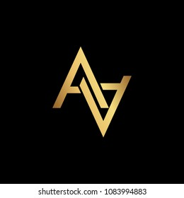 Creative elegant trendy unique artistic black and gold color AA initial based Alphabet icon logo.