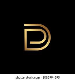 Creative elegant trendy unique artistic black and gold color DD DP PD initial based Alphabet icon logo.