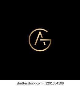 Creative Elegant Trendy Unique Artistic Black and Gold color GA or AG Initial Based Alphabet Icon Logo Design