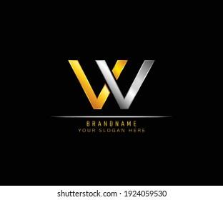 Creative elegant trendy unique artistic silver and gold color VV initial based Alphabet icon logo. Initial letter VV logo template. Luxury V V logo template.
