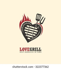 Creative emblem concept for bbq restaurant. Logo design template with barbecue, flame and heart. Love grill unique theme. Grill logo.
