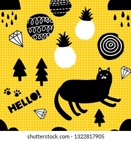 Creative endless background with doodle cats and pineapples. Scandinavian wallpaper, last trend of the year.