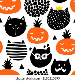 Creative endless pattern in scandinavian style with black cats and pumpkins. Hand drawn art in trend.