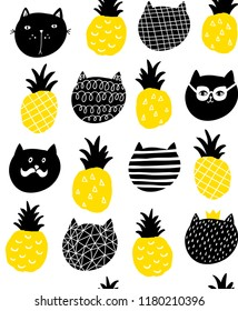 Creative endless pattern in scandinavian style with yellow pineapple and black cats. Hand drawn art in trend.