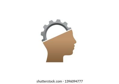 Creative Engineer Worker Gear head Brain Logo Design Illustration