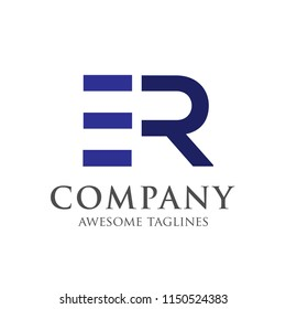 creative ER initial letter vector logo concept