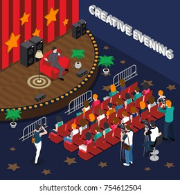 Creative evening isometric composition including artist with microphone on stage, spectators, video and photo shooting vector illustration