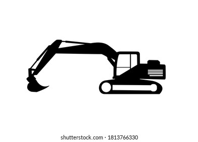 Creative excavator illustration for logo template. Excavator heavy equipment template vector for construction company.