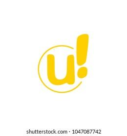 Creative Exclamation Logo Design. U Letter Fun Design Template.