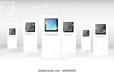 creative exhibition stand design. Booth template with commerce monitor. Corporate identity vector - stock vector