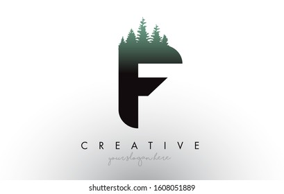 Creative F Letter Logo Idea With Pine Forest Trees. Letter F Design With Pine Tree on TopVector Illustration.