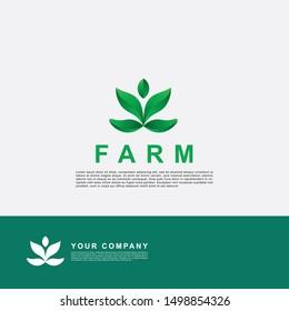 Creative farm logo template. Leaf element design.