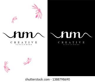 creative fashion letter nm/mn logo template vector