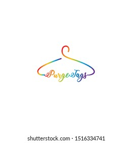 Creative fashion logo design. Vector sign with lettering and hanger symbol. Logotype calligraphy