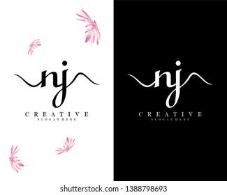 creative fashion nj/jn letter logo template vector