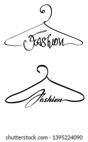 Creative fashion style logo design. Vector sign with lettering and hanger symbol. Logotype calligraphy
