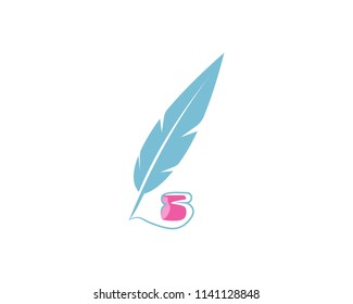 creative feather ink pen logo template