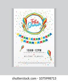 Creative Festa Junina Festival Poster Design Template A4 Size Vector Illustration