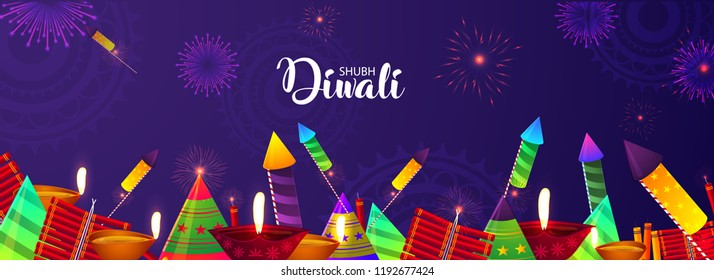 Creative Festival Banner or Poster for Diwali Celebration With Crackers, Happy Diwali.
