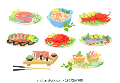Creative festive seafood dishes flat pictures set for web design. Cartoon fish, shrimps, salmon, crab and lobster served on plates isolated vector illustrations. Sea cuisine and food concept