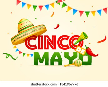 Creative fiesta party flyer design with illustration of guitar, maracas and sombrero hat on cream color background with colorful bunting flag.