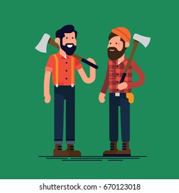 Creative flat character design on lumberjacks. Forestry professionals vector illustration. Tough bearded guys with axes. Loggers or woodcutters concept