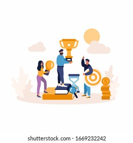 Creative Flat concept of Business people, target, idea. Business marketing promotion concept. Win, achieve, promote, time management, contact, handshake, brainstorming, money earning.