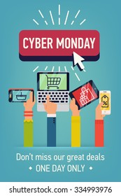 Creative flat design web banner template on Cyber Monday online shopping sale day with multiple hands holding mobile devices and portable computers with shopping icons and symbols on screen