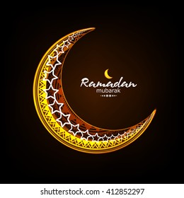 Creative floral decorated shiny moon wallpaper design for Islamic Festival Ramadan Kareem.