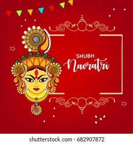 Creative Floral Frame based on Line Art with Beautiful Face of Maa Durga on decorative background for Hindu Festival Navratri.