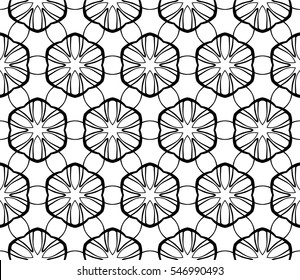 creative floral geometric pattern. seamless vector illustration. black and white color