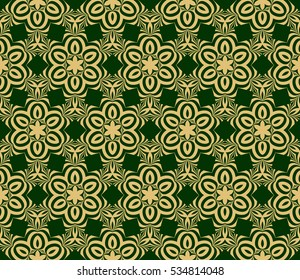 Creative floral geometric seamless pattern. psychedelic vector illustration. gold, green. For design, wallpaper
