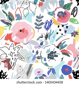 Creative floral seamless pattern with flowers. Hand drawn artistic background