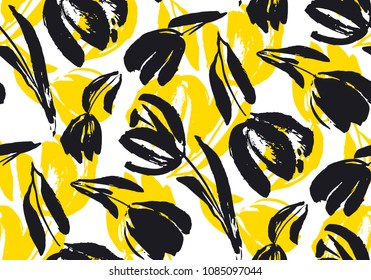 Creative flower pattern. Textures made with ink.hand drawn tulip seamless pattern for background, fabric, wrapping paper. stock template design. nature flat spring flower motif