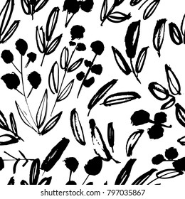 Creative flower pattern. Textures made with ink. Hand lettering for your designs: logo, for posters, invitations, cards, etc. Vector.