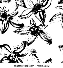 Creative flower seamless pattern. Textures made with black ink. Hand brush painting for your designs: logo, for posters, invitations, cards, etc. Vector.