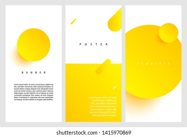 Creative fluid style banner set. dynamic 3D yellow circles on light background. ideal for party, banner, cover, print, promotion, sale, greeting, ad, web, page, header, landing, social media.