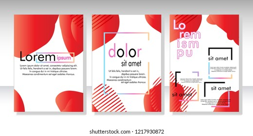 Creative fluid style poster set. dynamic  shapes on light background. ideal for party, banner, cover, print, promotion, greeting, ad, web, page, header, landing, social media. vector illustration