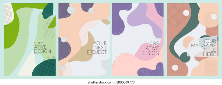 Creative fluid style poster set. dynamic 3D shapes on light background. ideal for party, banner, cover, print, promotion, greeting, ad, web, page, header, landing, social media. EPS 10 Vector