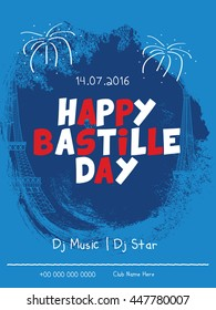 Creative flyer or poster for the French National Day.Happy Bastille Day.